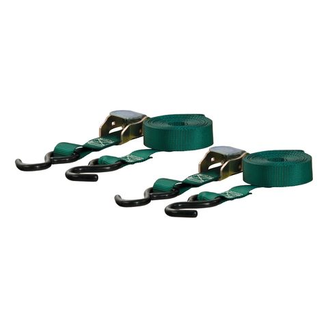 15ft. Dark Green Cargo Straps with S-Hooks (300 lbs.; 2-Pack)