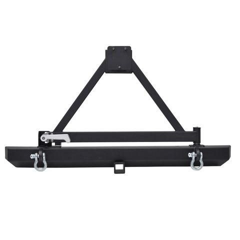 Classic Rear Bumper w/Tire Carrier; D-Ringss/2in. Inch Receiver Black