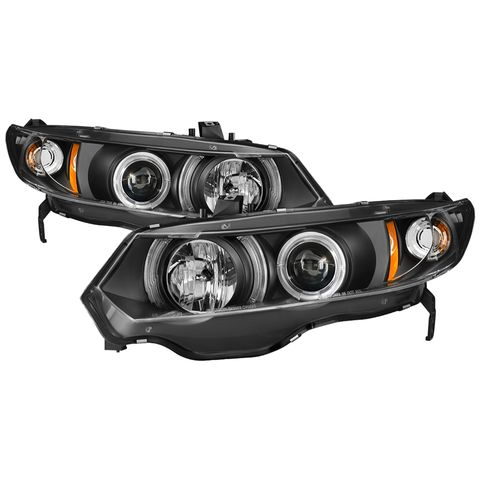 ( Spyder ) Honda Civic 06-08 2Dr Projector Headlights-LED Halo-Black-High H1 (In