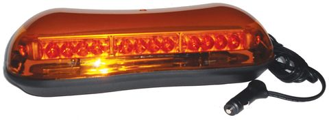 LED Warning Light Bar; 16 in.; Amber; Amber Dome; Magnetic Mount; SAE J845 Clas