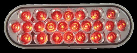LED Stop Turn Tail Lamp; 24 Diodes; Oval; Red; Clear Lens; 12V; SAE S2T2I6;