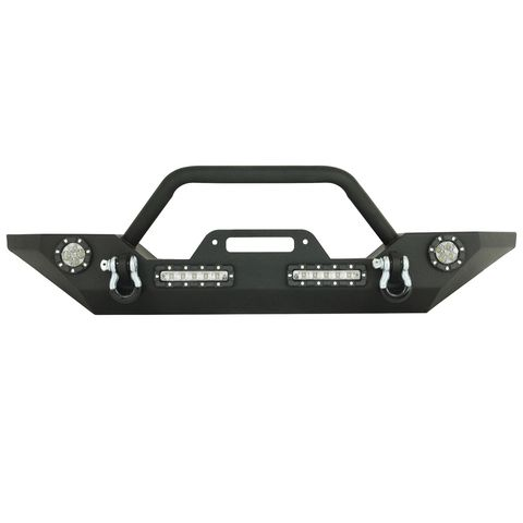 Heavy Duty Rock Crawler Front Bumper Black w/LED