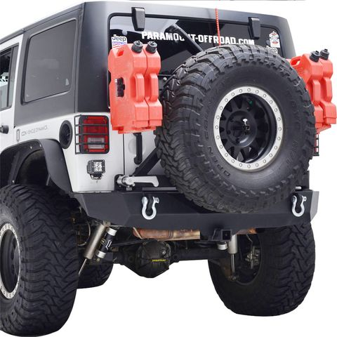 Heavy Duty Rock Crawler Rear Bumper w/Tire Carrier Black