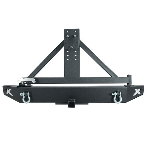 Rock Crawler Rear Bumper Black w/Tire Carrier