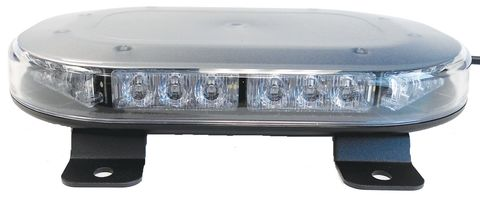 LED Mini Warning Light Bar; Amber; Bracket Mount; 9.75 in. L x 1.45 in. H; Cle