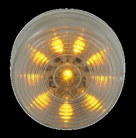 LED Marker Clearance Lamp; 2 in.; Round; 10 Diodes; Amber; Clear Lens; 12V; SAE