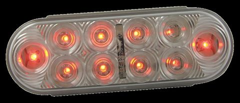 LED Stop Turn Tail Lamp; 10 Diodes; Oval; Red; Clear Lens;12V; SAE S2T2I6;
