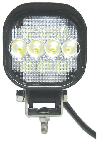 Flood LED Lamp; 10 x 1 Watt Diodes; Aluminum Housing; Black Finish; 9 To 36V;