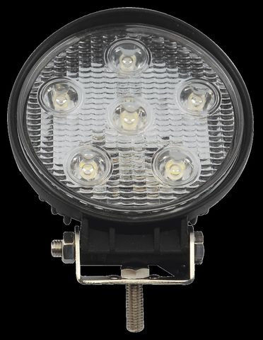 Spot LED Lamp; 6 Diodes x 3 Watts; Hooded Cast Aluminum Housing; Black Finish; 1
