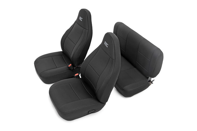 Black Neoprene Seat Cover Set Front RearSeat CoverRough CountryRCS91001