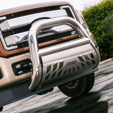 Big Horn 4in. Polished Stainless Bull Bar; Select Dodge; Ram 1500; 2500; 3500
