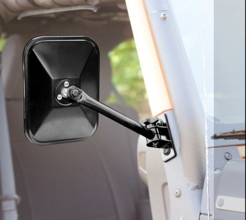 Quick Release Mirror, Rectangular, Black; 97-18 Jeep Wrangler