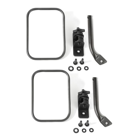Stubby Trail Mirror, Rectangular Pair, Txt Blk; 97-18 Jeep Wrangler JK